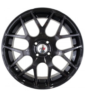 Rin 16X7 4-100 PRW Mod: P724 ET35 CB73.1 BLACK MACHINE FACE WITH TINTED CLEAR MIDNIGHT SMOKE