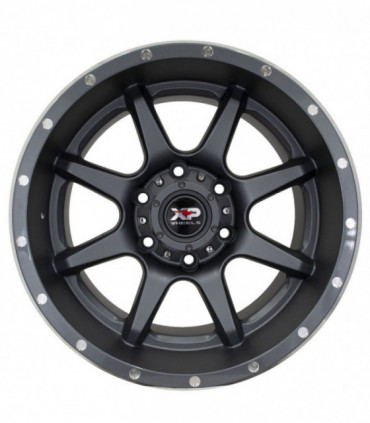 Rin 17X9 6-139.7 XP WHEELS Mod: 177 ET10 CB106.2 MATTE GRAY WITH MILLED RIVETS HOLES AND GLOSS BLACK LIP