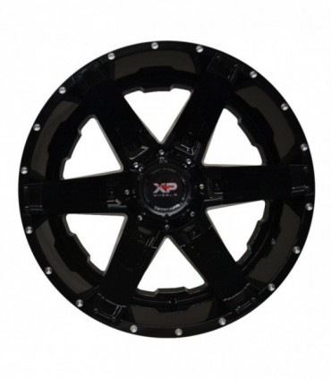 Rin 22X12 5-127/139.7 XP WHEELS MOD: 6061 ET-44 CB87.1 GLOSS BLACK WITH SATIN BLACK INSERTS AND MILLED R